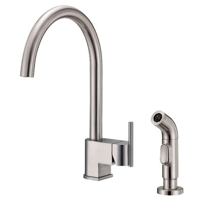 Como Single Handle Kitchen Faucet with Side Spray Finish: Stainless Steel