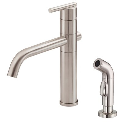 Parma Single Handle Deck Mount Kitchen Faucet with Spray Finish: Stainless Steel