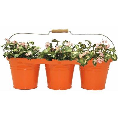 Galvanized Steel Pot Planter Color: Tangerine