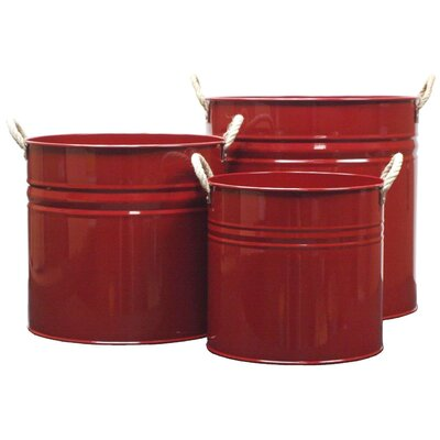 Enameled Galvanized 3 Piece Planter Color: Red