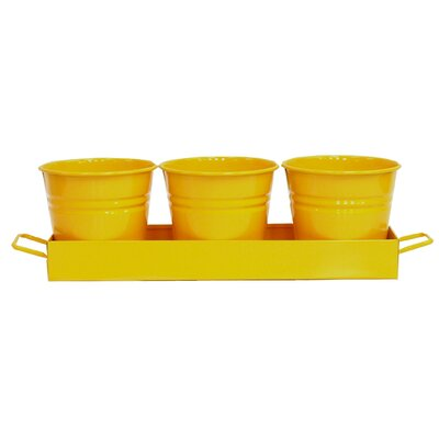 4-Piece Metal Pot Planter Color: Yellow