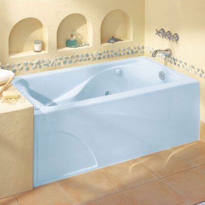 "Cadet 60"" x 32"" Air/Whirlpool Bathtub with Hydro Massage System l / Integral Apron and Right Hand Outlet Color: Linen"