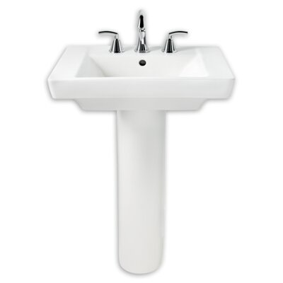 "Boulevard Vitreous China 24"" Pedestal Bathroom Sink with Overflow"