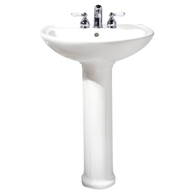 "Cadet Ceramic 25"" Pedestal Bathroom Sink with Overflow Sink Color: Bone, Faucet Mount: Single Hole"