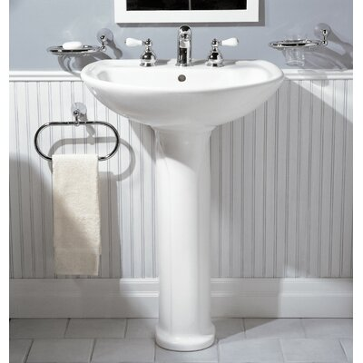 "Cadet Ceramic 25"" Pedestal Bathroom Sink with Overflow Sink Color: White, Faucet Mount: 8"" Widespread"