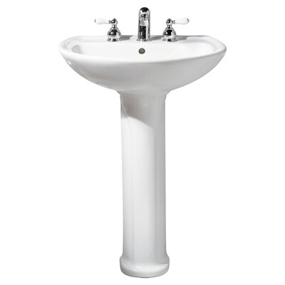 "Cadet Ceramic 25"" Pedestal Bathroom Sink with Overflow Sink Color: Bone, Faucet Mount: 8"" Widespread"