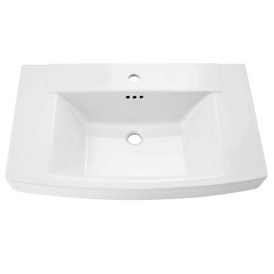 Townsend Rectangular Pedestal Bathroom Sink with Overflow Sink Color: White