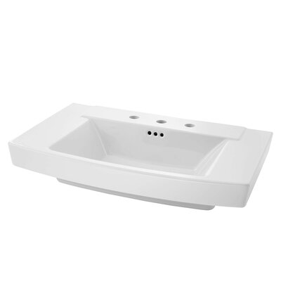 "Townsend 35"" Pedestal Bathroom Sink with Overflow Sink Color: White"