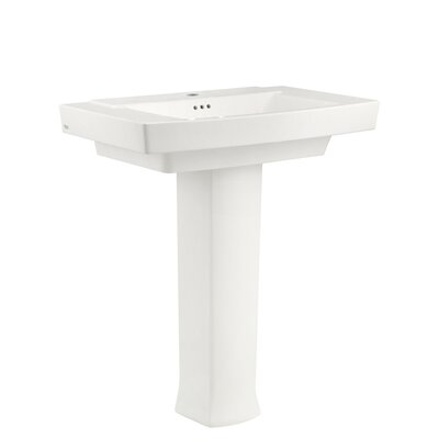 Town Square Rectangular Pedestal Bathroom Sink with Overflow Sink Color: White