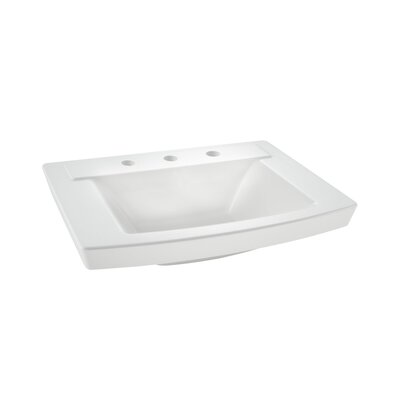 "Townsend 16"" Pedestal Bathroom Sink with Overflow Sink Color: White"