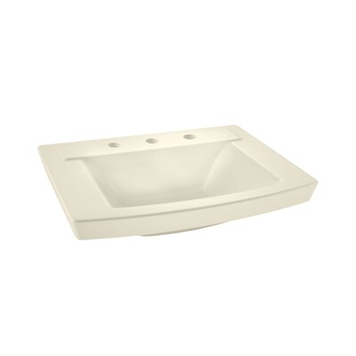 "Townsend 16"" Pedestal Bathroom Sink with Overflow Sink Color: Linen"