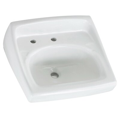 "Lucerne Ceramic 21"" Wall Mount Bathroom Sink with Overflow Faucet Mount: Left Hand Hole"