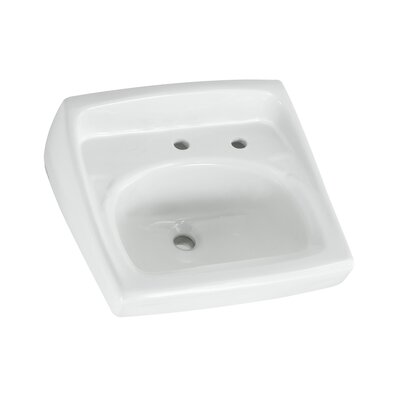 "Lucerne Ceramic 21"" Wall Mount Bathroom Sink with Overflow Faucet Mount: Right Hand Hole"
