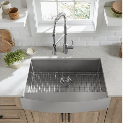 """Pekoe Stainless Steel 33"""" L x 22"""" W Farmhouse/Apron Kitchen Sink with Sink Grid and Drain Assembly"""
