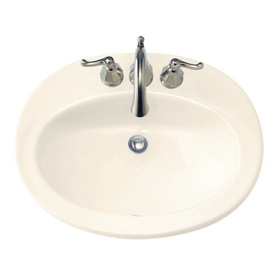 "Piazza Ceramic Oval Drop-In Bathroom Sink with Overflow Sink Color: Bone, Faucet Mount: 8"" Widespread"