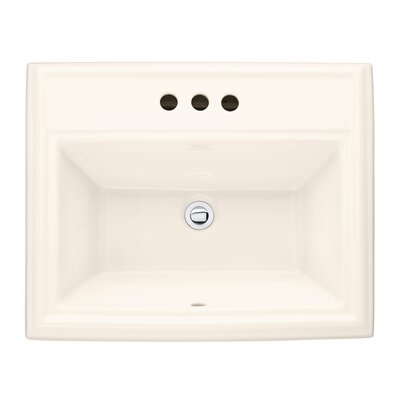 """Town Square Ceramic 24"""" Rectangular Drop-In Bathroom Sink with Overflow Sink Color: White, Faucet Mount: 8"""" Widespread"""