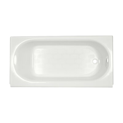 "Princeton 60"" x 34"" Above-Floor Soaking Bathtub with Luxury Ledge and Integral Overflow Color: White, Drain Location: Right"