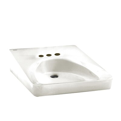 """Ceramic 20"""" Wall Mount Bathroom Sink with Overflow Sink Color: White, Faucet Mount: 4"""" Centerset"""