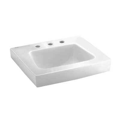 "Roxalyn Ceramic 20"" Wall Mount Bathroom Sink with Overflow Faucet Mount: 4"" Centers with Left Hand Hole"