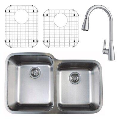 "Stellar 32"" L x 21"" W Double Basin Undermount Kitchen Sink with Faucet, Sink Grid and Sink Strainer"