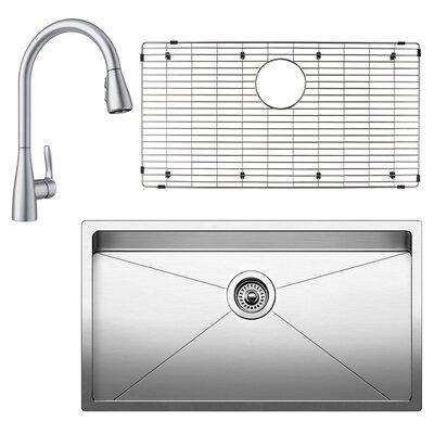 "Quatrus 18"" L x 32"" W Undermount Kitchen Sink with Faucet, Sink Grid and Sink Strainer"