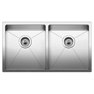"""Quatrus 32"""" L x 18"""" W Double Basin Undermount Kitchen Sink with Faucet, Sink Grid and Sink Strainer"""