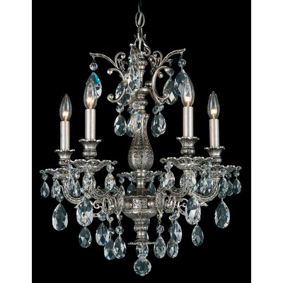 Milano 5-Light Chandelier Finish: Roman Silver, Crystal Color: Optic Clear