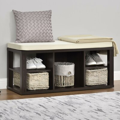 Annsville Wood Storage Bench Color: Espresso