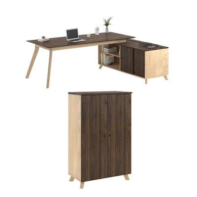 Barbosa Executive 2 Piece L-Shape Desk Office Suite Finish: Light Brown