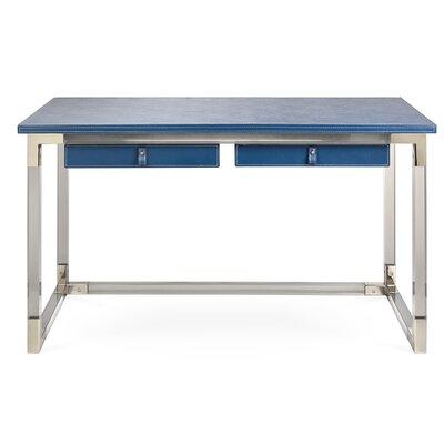 Jacques Writing Desk Top Finish: Blue, Base Finish: Nickel