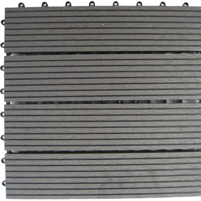 "Naturesort Bamboo Composite 12"" x 12"" Deck Tiles in Grey"