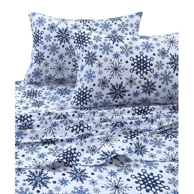 Snowflakes 170-GSM Printed Flannel Extra Deep Pocket 100% Cotton Sheet Set Size: California King