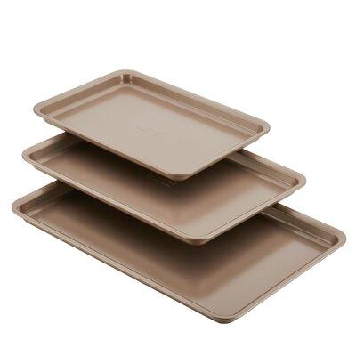 Non-Stick 3 Piece Bakeware Cookie Pan Set Color: Bronze