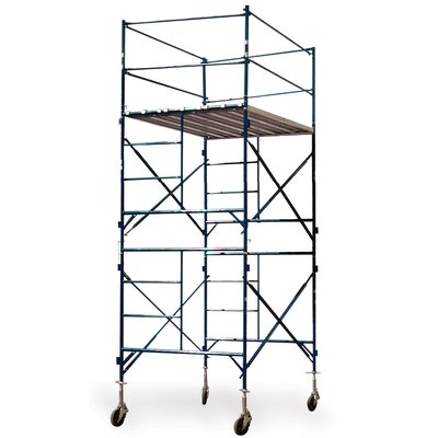 "Buffalo Tools Pro Series 16.17' H x 84"" W x 60"" D  Steel Two Story Tower Scaffold with 375 lb. Load Capacity Type 2A Duty Rating"
