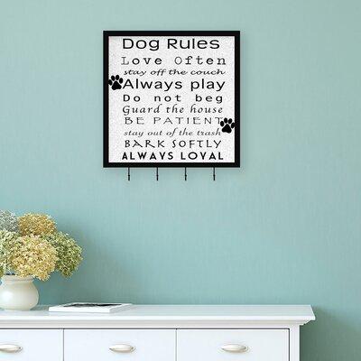 Dog Rules Wall Mounted Coat Rack