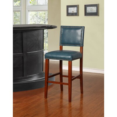"""Elias 30"""" Bar Stool Finish: Brown, Upholstery: Pacific Blue"""