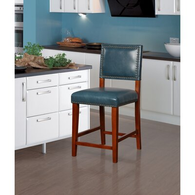 """Elias 24"""" Bar Stool Finish: Brown, Upholstery: Pacific Blue"""