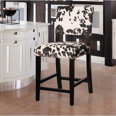 """Boyabat Bar & Counter Stool Seat Height: Counter Stool (24"""" Seat Height), Color: Black Cow Print"""