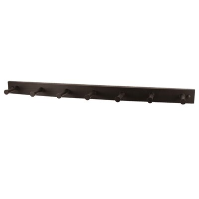 Buchanan 7 Peg Wall Mounted Coat Rack Color: Coffee