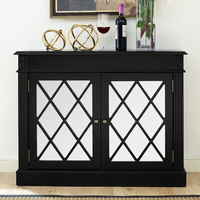 Cheetham Mirrored 2 Door Accent Cabinet Color: Black