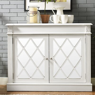 Cheetham Mirrored 2 Door Accent Cabinet Color: White