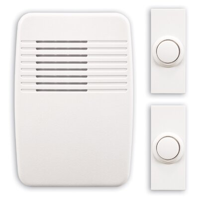 Wireless Plug-In Door Chime Kit with Two Push Buttons