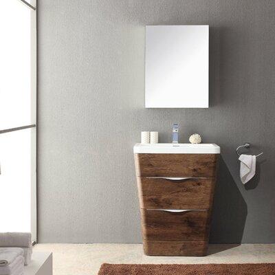 "Milano 26"" Single Sink Modern Bathroom Vanity Set Base Finish: Rosewood"