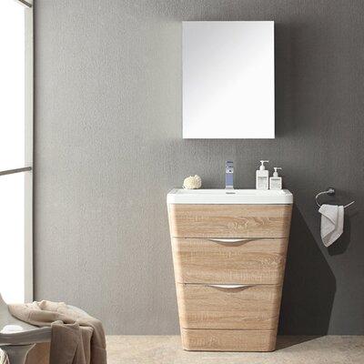 "Milano 26"" Single Sink Modern Bathroom Vanity Set Base Finish: White Oak"
