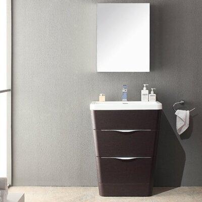 """Milano 26"""" Single Sink Modern Bathroom Vanity Set Base Finish: Chestnut"""