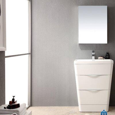 """Milano 26"""" Single Sink Modern Bathroom Vanity Set Base Finish: Glossy White"""
