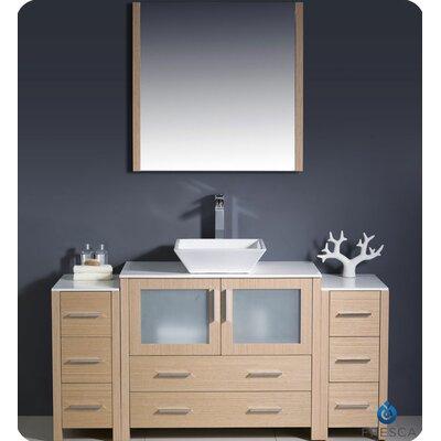 "Torino 60"" Single Modern Bathroom Vanity Set with Mirror Base Finish: Light Oak"