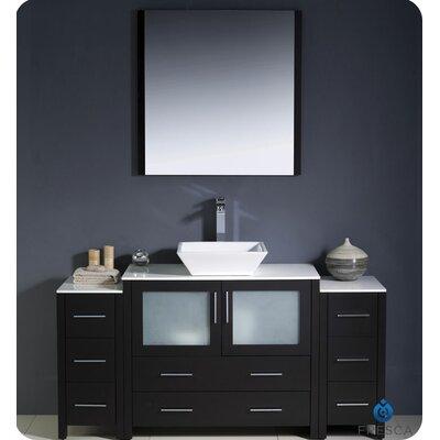 "Torino 60"" Single Modern Bathroom Vanity Set with Mirror Base Finish: Espresso"
