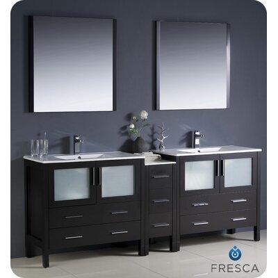 "Torino 84"" Double Modern Bathroom Vanity Set with Mirror Base Finish: Espresso"