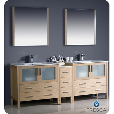"Torino 84"" Double Modern Bathroom Vanity Set with Mirror Base Finish: Light Oak"